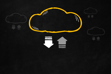 storage: Cloud transferring progress bar with copyspace. Transferring data concept on a blackboard, for online storage and backup application. Hand drawn cloud with symbol of transfering data for online storage product. Stock Photo