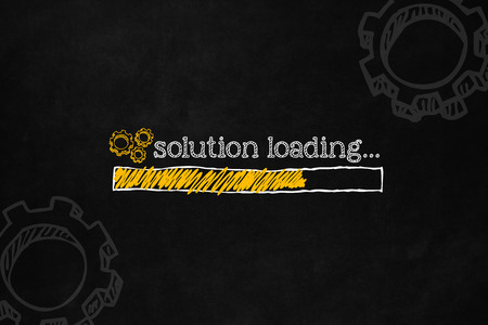 business problems: Solution loading concept, with copyspace, suitable for business presentation. Progress bar loading a solution to fix problems, appropriate for business and career. Progress status bar for solution.
