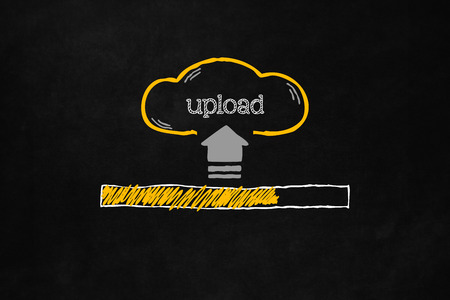 progress bar: Cloud upload progress bar with copyspace. Uploading data concept with a progress bar on a blackboard. Hand drawn cloud with symbol and text indicating upload