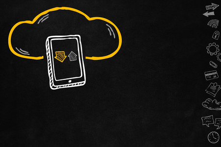 wireless connection: Cloud and sharing connections for tablet. Sharing online data through internet with network and wireless connection. Hand drawn cloud connection with tablet isolated on blackboard with copyspace.