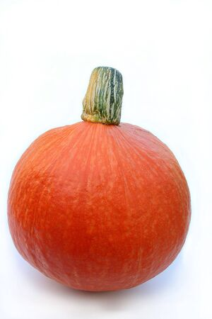 Isolated orange pumpkin,big round orange pumpkin isolated on white