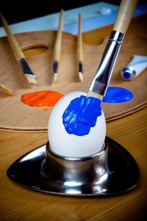 Closeup of brush painting Easter egg blue Stock Photo - 6597719
