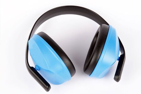 protector: Details of an ear protector headset, used to  protect hearing from harmfully loud noises Stock Photo