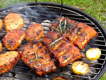 Close-up shot of barbecue steaks.
