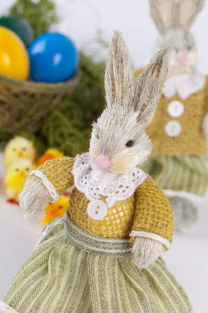stuffed toy: Easter arrangement with colored eggs Stock Photo