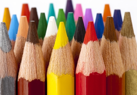 Colorful tips of pencil crayons Stock Photo - 14215126