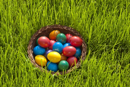 Plain colorful Easter Eggs in a bastket