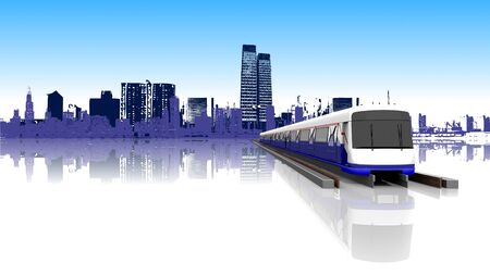 3D Rendering Electric Train on the Rails with Downtown City Background.