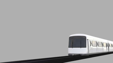 Train, Subway or Sky Train Transport with rail. Railroad travel and railway tourism. 3D illustration Train with rail isolated on solid background with Clipping Path. Perspective View.