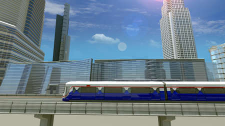 3D Rendering Scene of Electric Sky Train is driven at high speed on the Rails with Downtown City Background.