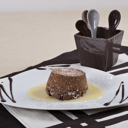 flan: Chocolate flan with vanilla sauce