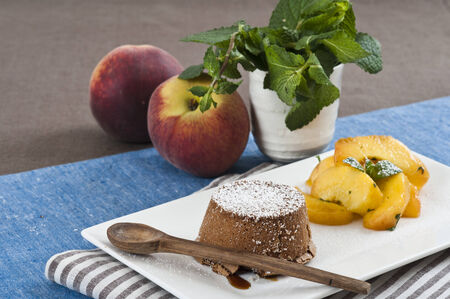flan: Chocolate flan with Peach and mint