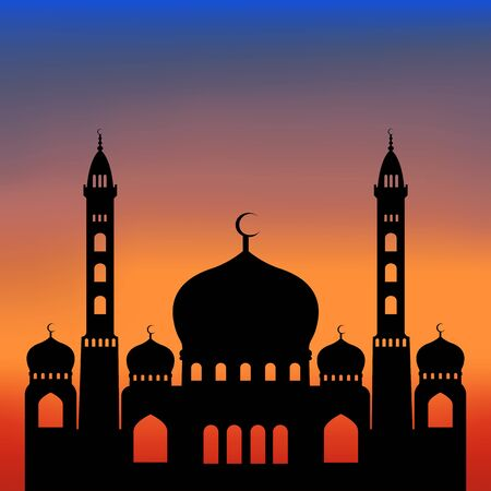 big black mosque at sunset