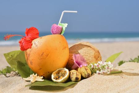 Still life of a tropical cocktail on a beach