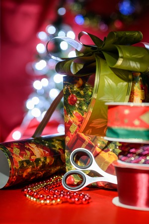 handcraft: Decorative set of objects related to handcraft and Christmas celebration Stock Photo