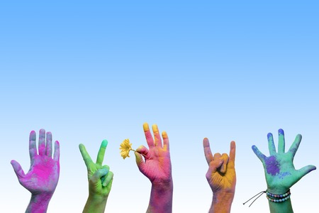 painted hands: Colorful holi painted hands in different positions