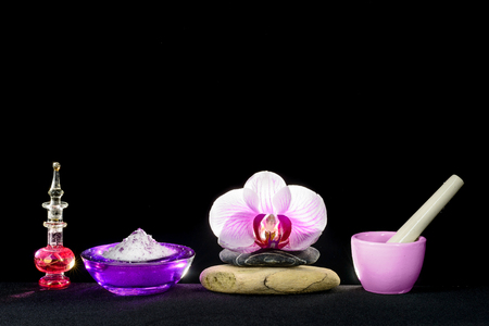 pounder: Set of objects related to spa isolated on black Stock Photo