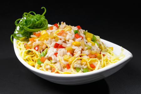 korean salad: Korean salad with corn and pepper in white dish