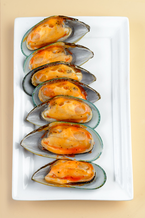 Fresh Oyster with sauce Stock Photo