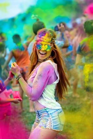 Holi painted girl