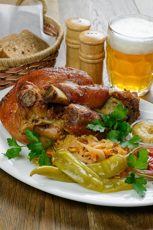 Pork knuckle and beer