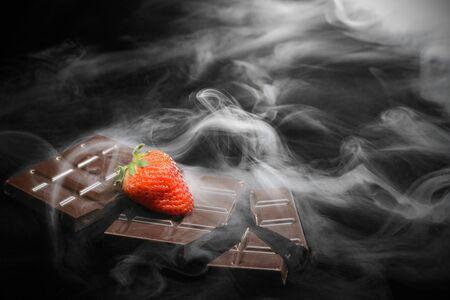 Schokolade in Rauch Standard-Bild