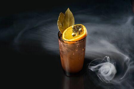Spisy green tea cocktail on black