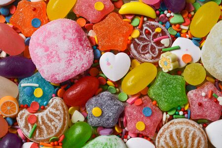 Different multicolored candies