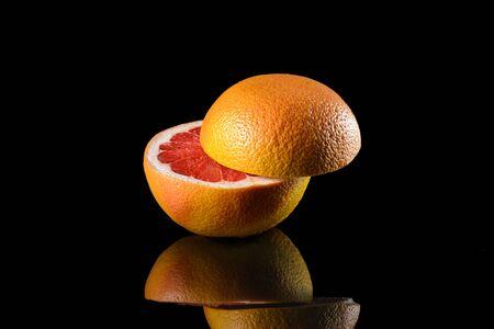 Fragrant grapefruit on glass