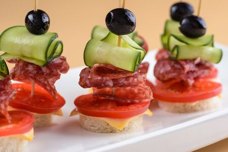 Canape with salami and cucumber