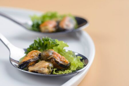 snack of mussels 写真素材