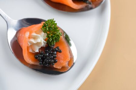 Snack with red fish and caviar on metallic spoon 写真素材