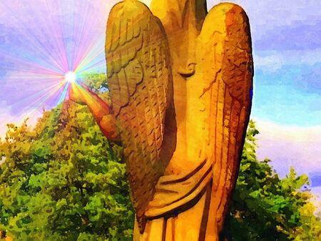 shinning: Oil paint angel with shinning light Illustration