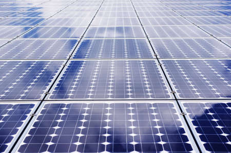 Solar panel frontal view. - Clean, green energy. Stock Photo - 7485569