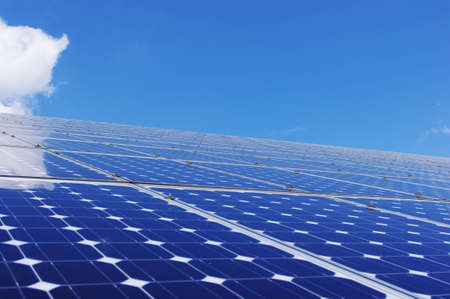 Solar panel and blue sky. Renewable, Clean energy. photo
