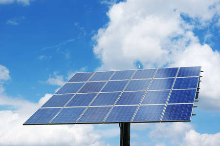 photovoltaic power station: Rotatable solar power station generating clean energy. Stock Photo
