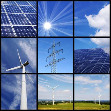 sonnenenergie: Gr�ne Energie-Collage: Sonnenkollektoren, Wind Power, Pylon,...