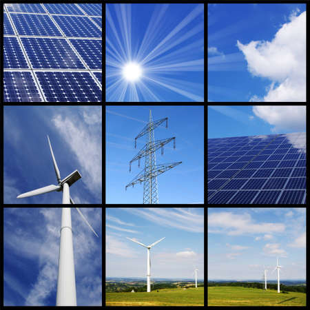 solar equipment: Green energy collage: Solar panels, wind power, pylon, ... Stock Photo