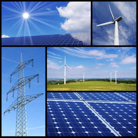 torres de alta tension: Collage de energía limpia & alternativo