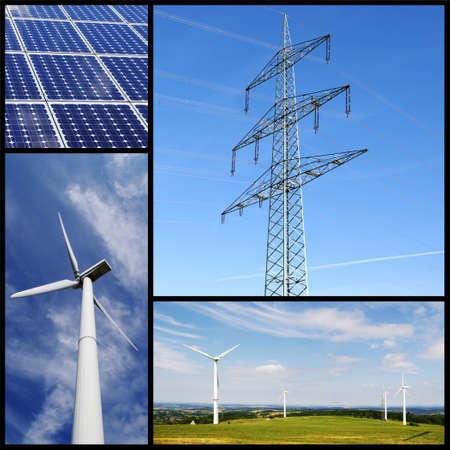 torres el�ctricas: Verde collage de energ�a: paneles solares, e�licos poder y torre. Foto de archivo