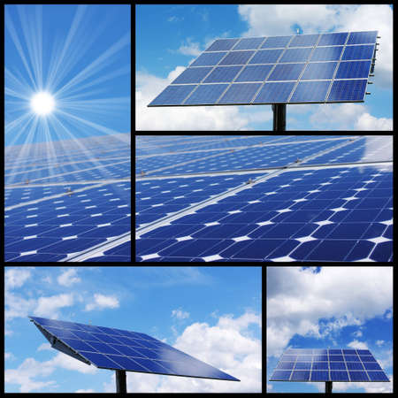 energia solar: Collage de energ�a solar: alternativa y energ�a verde! Foto de archivo