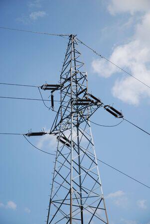 telegraphs: Power lines against blue sky