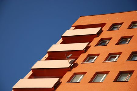 building on a blue background. photo