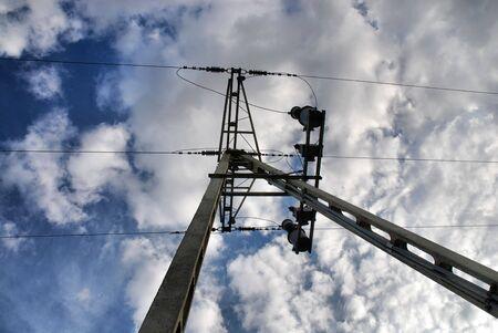 volts:  high volts power line on blue sky