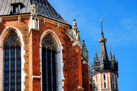 The tower of Mariacki Church in Cracow, Poland photo