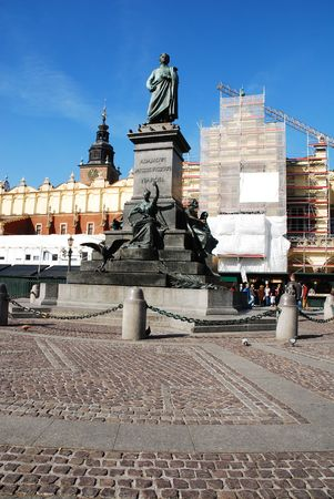 mickiewicz:  Statue of the Polish poet - Adam Mickiewicz in Cracow, Poland. See more in my portfolio. Stock Photo