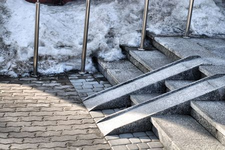 stone stairs: Modern wheelchair ramp in church door