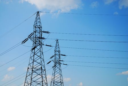 power transmission tower with cables