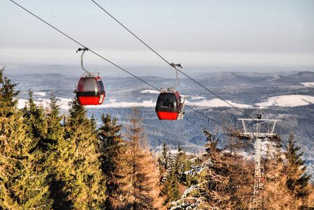 Winter landscape with a red cable car Stock Photo - 6546835