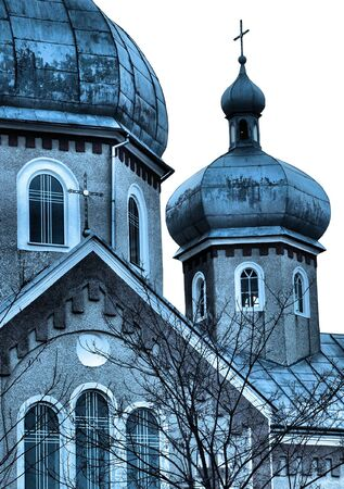 old church in Ukraine isolated on white background